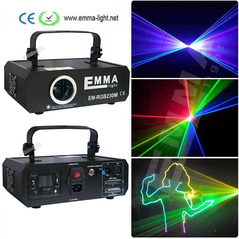 1 Watt Red Green Blue Beam Animation Laser Light / Rgb Multi Color Dj Laser Lights For Sale / Dmx Ilda Laser Projector