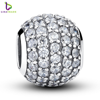 925 Sterling Silver Pave Czech Bead BALL Charm Fit CD Bracelet With Clear Cubic Zirconia DIY