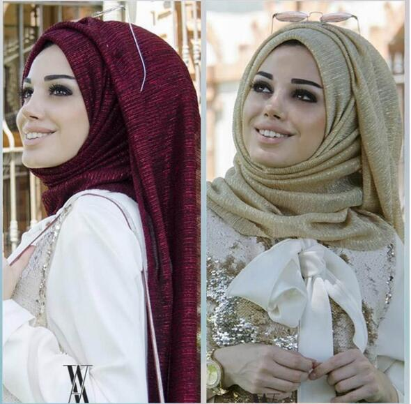 D1 glitter   scarves   plain shimmer elastic long headband fashion   scarf   hijab   wraps   muslim shawls