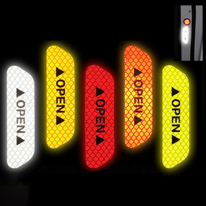 Image 4 - 4 Pcs Car Door Safety Warning Reflective Stickers OPEN Sticker Long distance Reflective Paper Anti collision Decorative Sticker