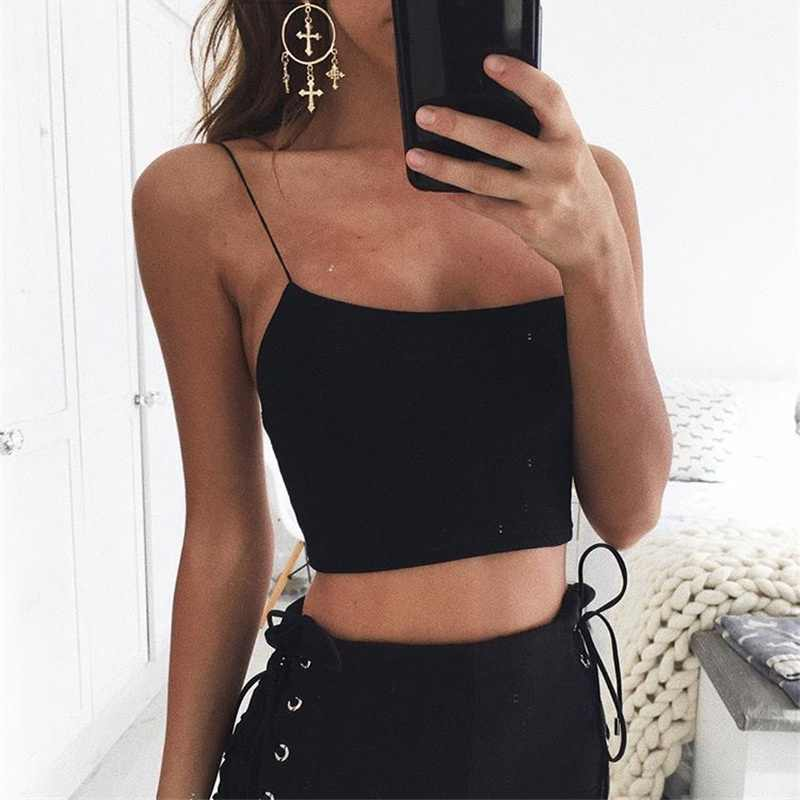 Sexy Summer Women Sleeveless Straps  Camis Solid Casual White Black Bustier Spaghetti Strap Crop Tops 7644