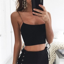 US $2.47 6% OFF|Sexy Summer Women Sleeveless Straps  Camis Solid Casual White Black Bustier Spaghetti Strap Crop Tops 7644-in Camis from Women's Clothing on Aliexpress.com | Alibaba Group