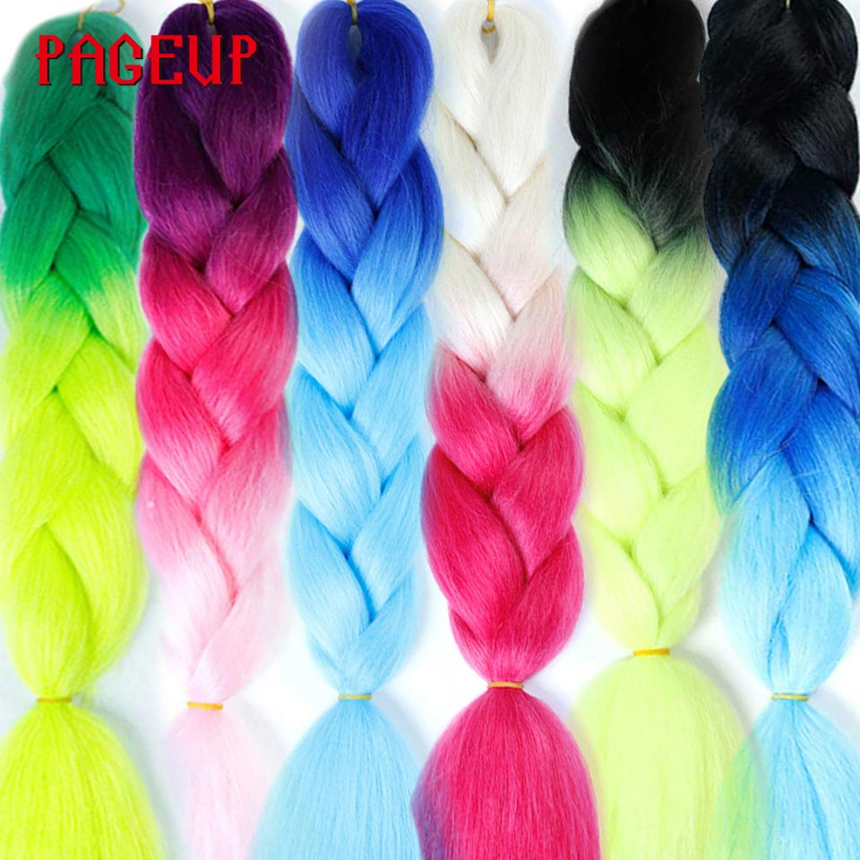 Pageup Jumbo Hair Hair-Extensions Braids Synthetic-Hair Pre-Stretched Colored African Afro