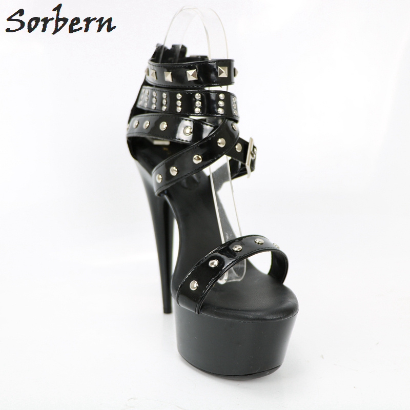 Sorbern Black Gladiator Style Sandals High Heels Metal Buckles Platform Shoes Women High Heel 2018 Office Shoes Women Size 8 women high heel sandals cross strap hollow gladiator shoes women trifle heels sansals high platform woman footwear size 34 39