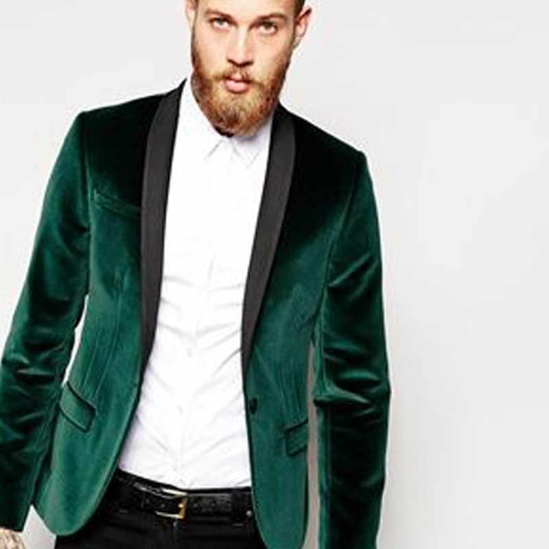 グリーンベルベットビジネスパーティー男性スーツ新郎の摩耗 2018 黒ショールラペルブレザーツーピースのウェディングタキシード (ジャケット + パンツ)