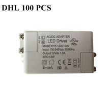 DHL 100 PCS power 12W AC 100-240V DC 12V 1.0A goods of BEST SELLING LED driver Lighting Transformers Driver for strip