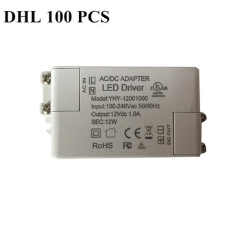 DHL 100 piezas de potencia 12 W AC 100-240 V DC 12 V 1.0A productos de LED más vendidos controlador de iluminación de transformadores para tira de luz LED