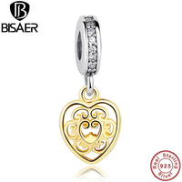 Sterling Silver 925 Magnificent 14k Gold Filigree Heart Charm Fit Original Bracelet Necklace DIY Jewelry PS152