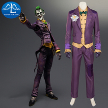 2016 New Men's Batman Arkham Asylum Joker Cosplay Costume Deluxe Outfit Halloween Cosplay Costume for Adult цена и фото