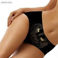 Spandex Womens 3D Ondergoed Zwarte Kat bont Afdrukken Shorts Underpant Vrouwen Sexy Lingerie Ondergoed Naadloze Knickers Midden Taille