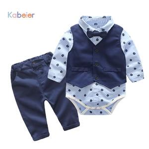 Image 1 - Одежда для маленьких мальчиков вечерние одежда комплект одежды для малышей, комплекты для новорожденных Детское платье майка + комбинезон + брюки, комплект из 3 предметов на осень и весну, комплекты одежды для детей KB8083