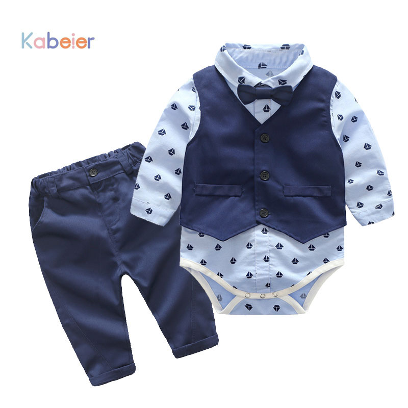 Baby Boys Party Clothes Suits Infant Newborn Sets Dress Kids Vest+Romper+Pants 3PCS Autumn Spring Children Suits Outfit 3-24M 3pcs baby boy clothing suits solid white shirt vest striped pants casual children party costumes kids spring autumn sets 088f