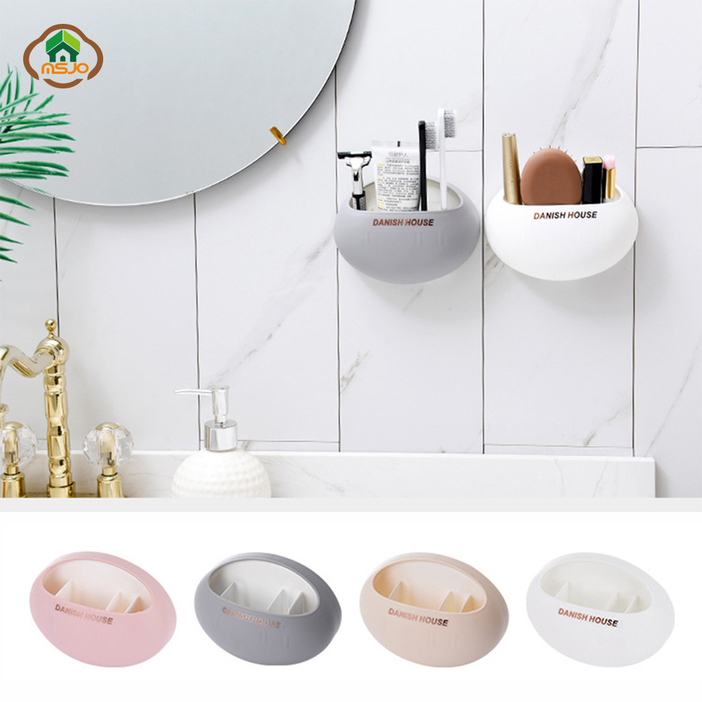 MSJO Toothbrush Holder Makeup Wall Case Cute Eggs Suction Design Container For Toothbrushes Bathroom Accessories Storage Decor image