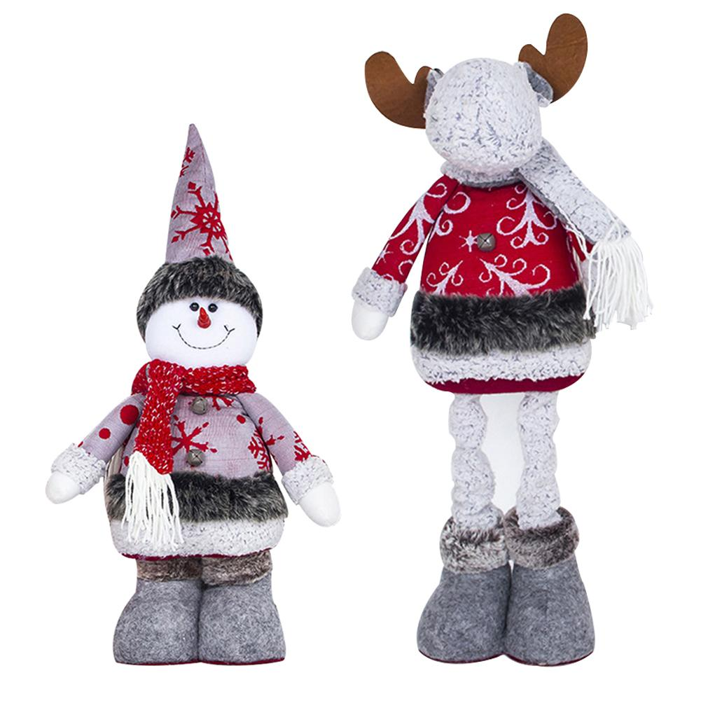 TOPATY Christmas Doll Retractable Home Shopping Mall Fabric Elk Christmas Telescopic Decorating Dolls