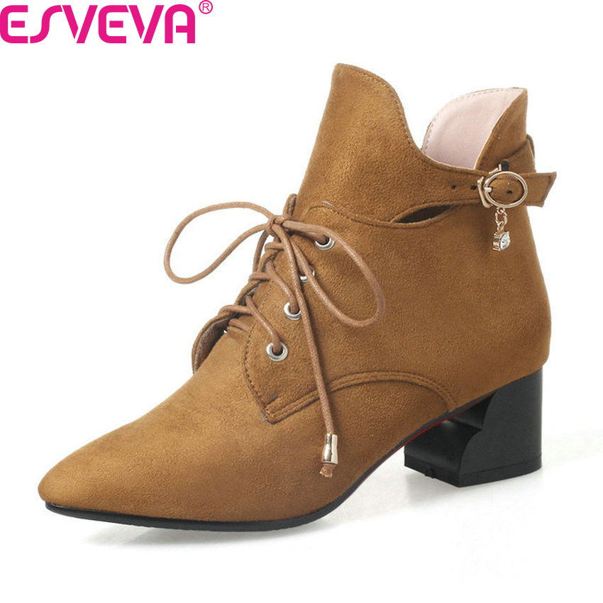 ESVEVA 2018 Women Boots Elegant 3 Color All Match Ankle Boots Square Med Heels PU Pointed Toe Lace Up Ladies Boots Size 34-43 esveva 2018 women boots elegant square high heels pointed toe ankle boots appointment lining warm fur pu ladies shoes size 34 39