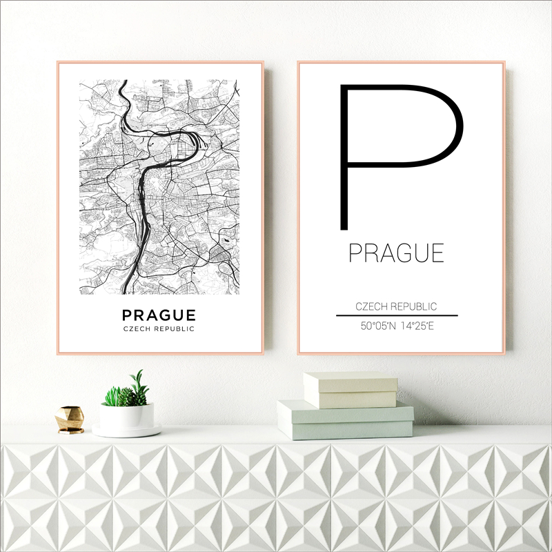 Prague City Poster Czech Republic Map Print Modern Canvas Painting Wall Art Pictures For Czechia Living Room Home Decoration