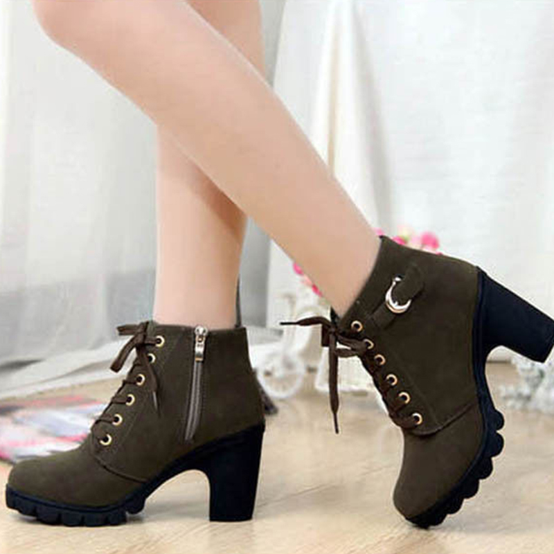 a1c2de3710 2015 Fashion Women Shoes High Heels Platform Boots Suede Lace Up Punk Rock  Vintage Pumps Shoes Ladies Winter Ankle Snow Boots-in Ankle Boots from Shoes  on ...
