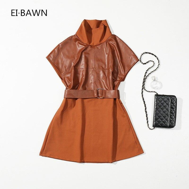 2018 Nouvelle Arrivée Robe Femmes Coton Coutures En Cuir Plus La Taille Femmes Shorts Manches Ceinture Vintage Slim Coréenne style femmes Robe