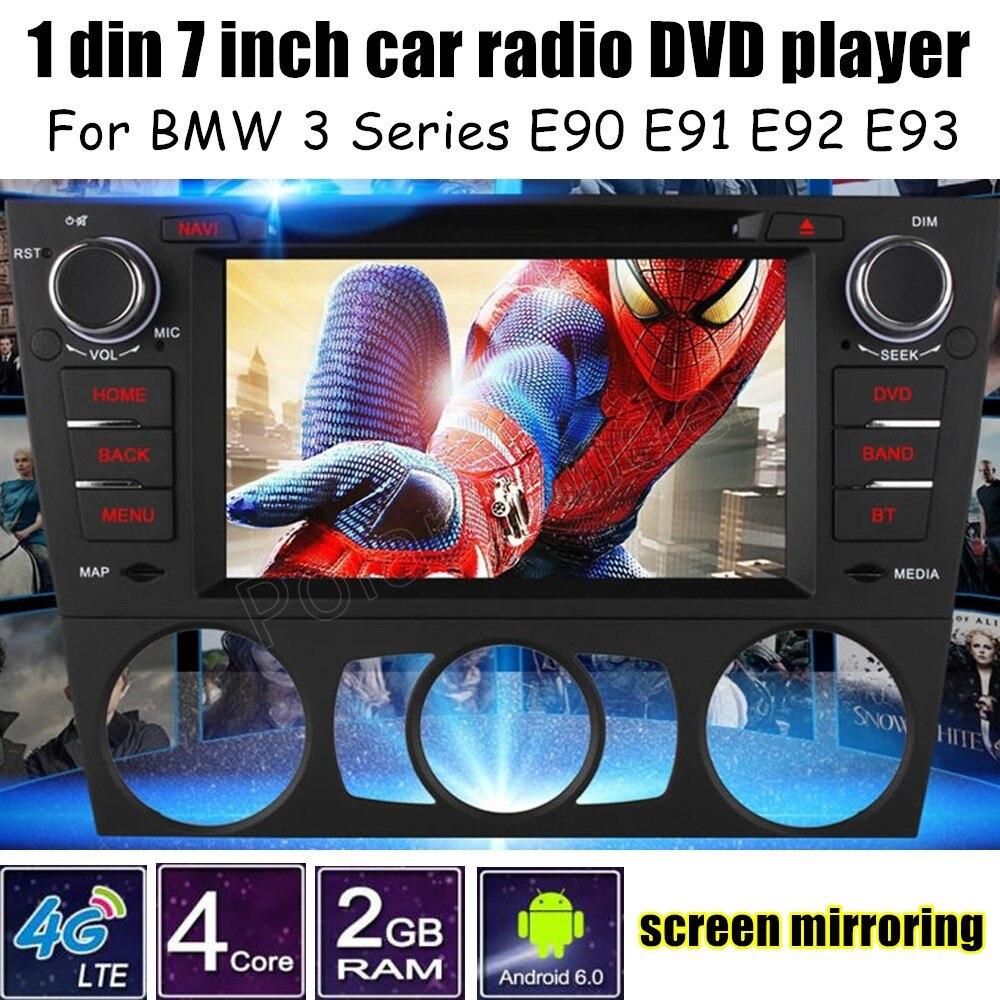Android 6.0 autoradio 7 pouces ecran tactile 1 Din lecteur DVD GPS pour B/MW 3 Series E90 E91 E92 E93