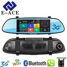 E-ACE 7.0 дюймов 3 г Видеорегистраторы для автомобилей зеркало заднего вида сенсорный Android 5.0 с GPS Bluetooth Handfree WI-FI 16 г Quad Core видео рекордеры Автомобильные регистраторы два объектива gps навигации
