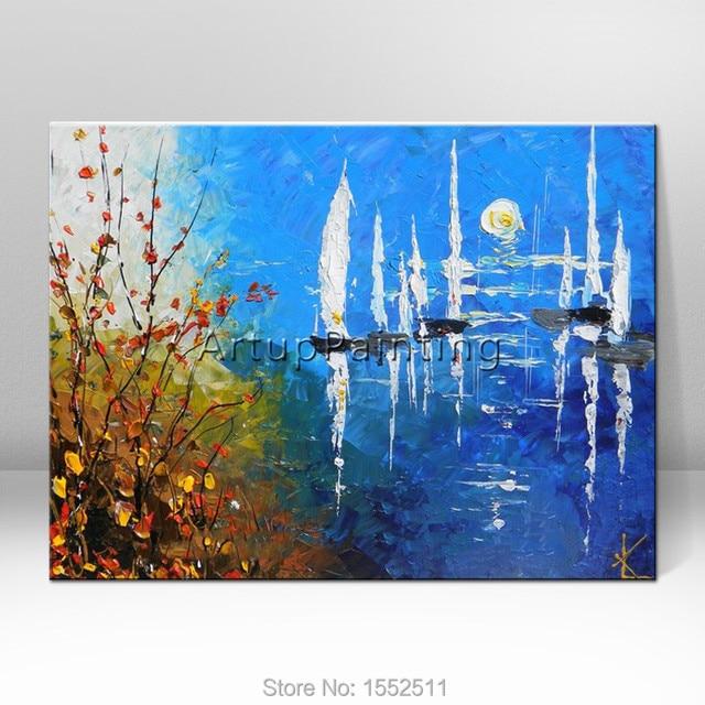 Peint la main l 39 huile abstraite peinture bateau bateau - Papier pour peinture huile ...