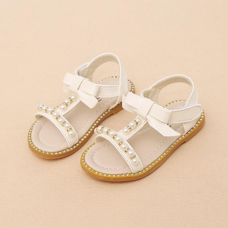 2018 Hook & Loop модная летняя обувь для девочек резиновая дышащая для маленьких детей обувь мода милый Лидер продаж бисером детские сандалии