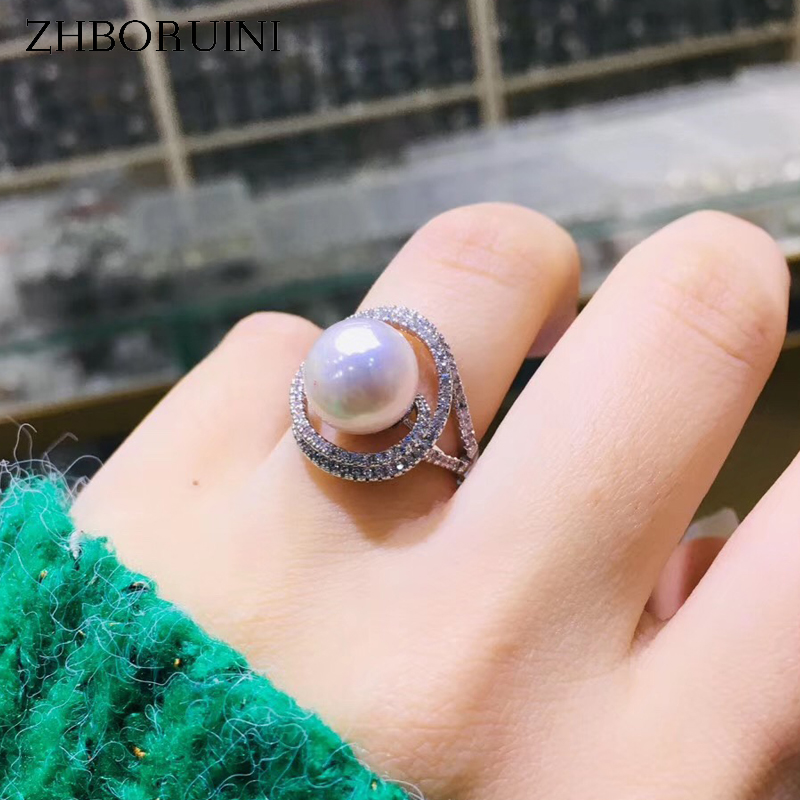 ZHBORUINI Noble Fine Pearl Ring Jewelry Of Silver Full Drilling Natural Freshwater Pearl Rings 925 Sterling Silver For Women