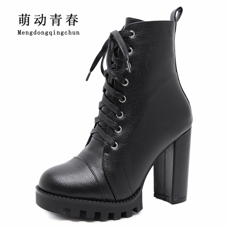 Women Ankle Boots 2018 Fashion Round Toe Lace Up Cross Tied High Heels Autumn Winter Boots Platform Warm Party Knight Booties kaeve blue denim lace up ankle boots fashion casual thin heels cross tied pumps round toe cowboy shoes jean snow boots