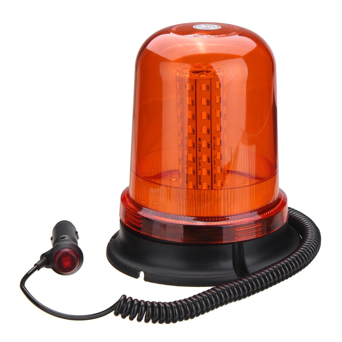 80 LED Magnetic Mount Rotating Flashing Amber Dome Beacon Recovery Warning Light Roadway Safety 10 led led beacon magnetic bolt recovery flashing warning strobe light lightbar amber