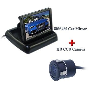 """2CH wideo 4.3 """"składany kolorowy ekran TFT LCD lusterko wsteczne Monitor samochodowy + HD kolor Night Vision kamera cofania z 170"""