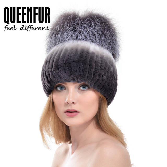 QUEENFUR New Women Real Rabbit Fur Hat With Big Genuine Silver Fox Fur Pom  Poms Top Beanies Natural Elastic Rex Rabbit Fur Cap a293305daa8