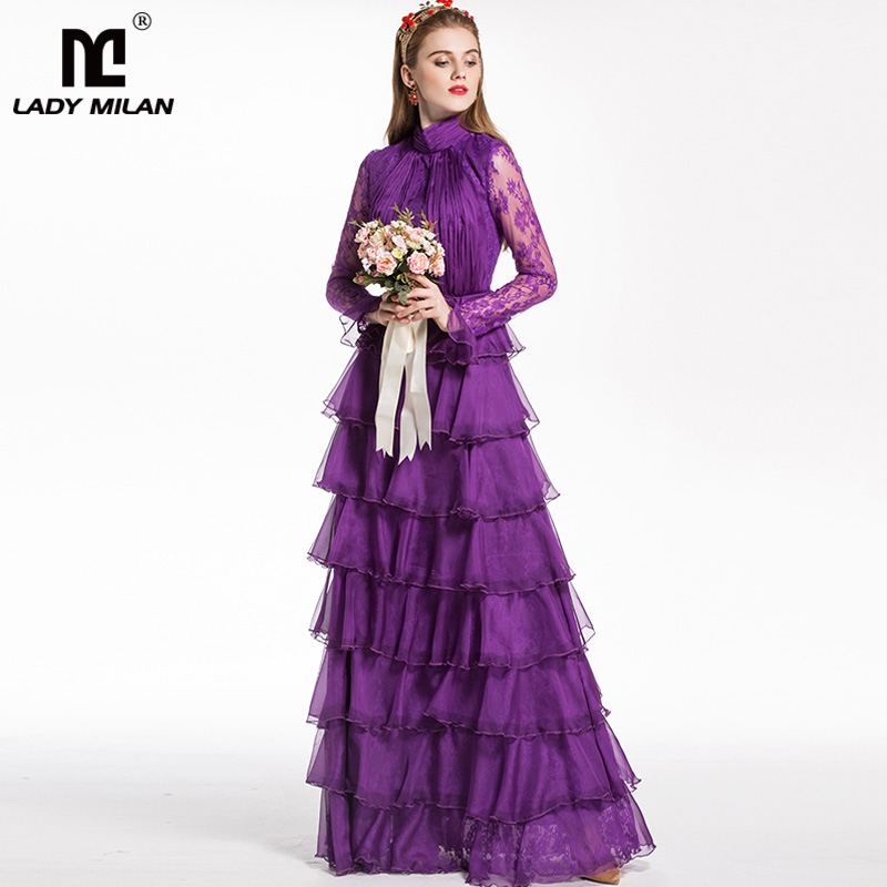 New Arrival 2019 Women's Stand Collar Long Sleeves Lace Ruched Patchwork Tiered Ruffles Party Prom Designer Maxi Dresses