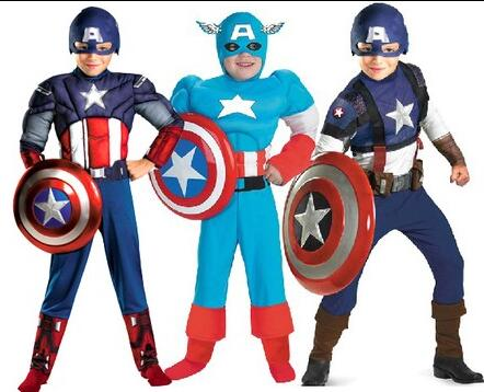 Boy Muscle Superhero Captain America Costume Hulk Avengers Super Hero Halloween Costumes Cosplay For Kids Child Boy