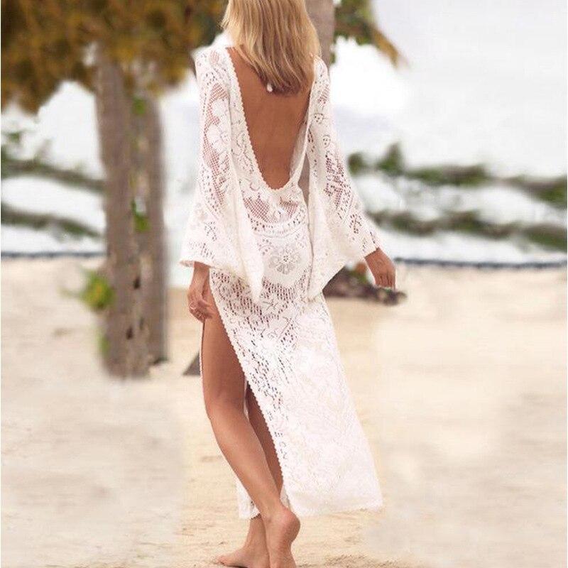 White Beach Dress Cover Backless Lace Bikini Cover Up Tunic Swimwear Women Robe De Plage Beach Cardigan Bathing Suit dinosaur world jurassic park scene play mat kids