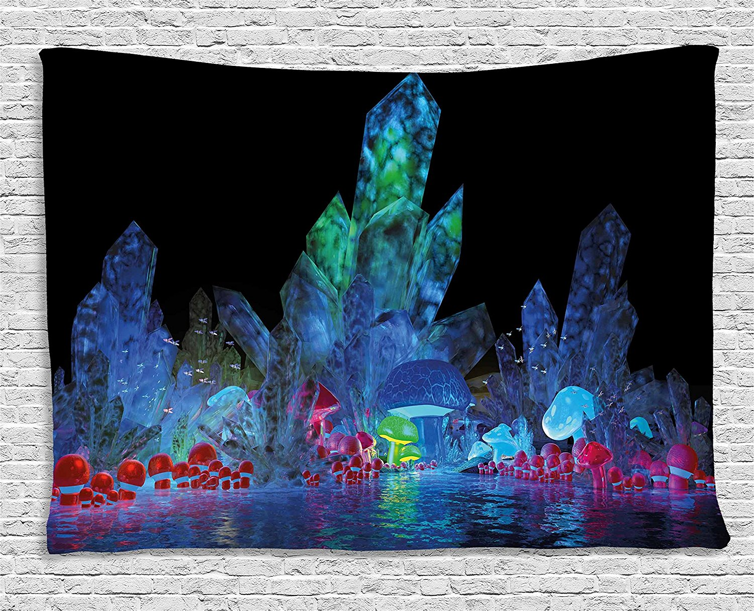 Psychedelic Tapestry, Magic Crystals Background Effects Mystic Nature Artistic with Neon Light Image, Wall Hanging Tapestry