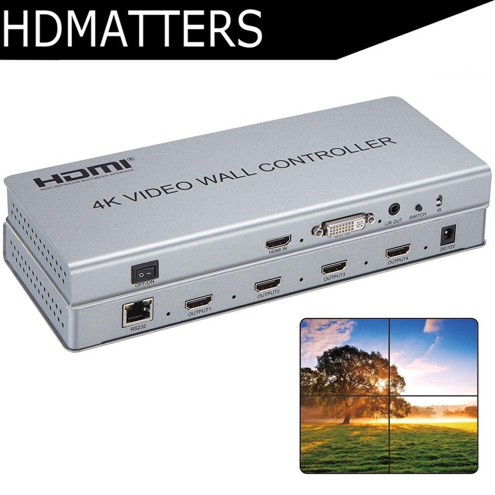 Video Wall controller 4 k X 2 k HDMI 1.4 video Wall Processore DVI/HDMI per 4X HDMI fuori con audio & RS232 di controllo
