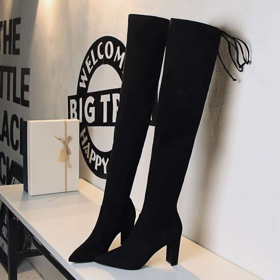 Europe United States fashion Women simple thick with high heeled suede pointed sexy night shop was thin pedicure knee boots shoe europe and the united states new handsome british wind pointed thick boots snake belt buckle especially exquisite single boot