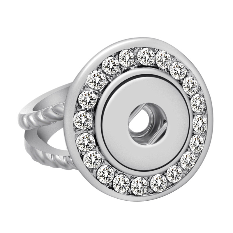NEW JZ0016 Trendy Rhinestone beauty DIY Snap Ring dia 17mm fit DIY 12MM DIY snap buttons jewlery wholesale image