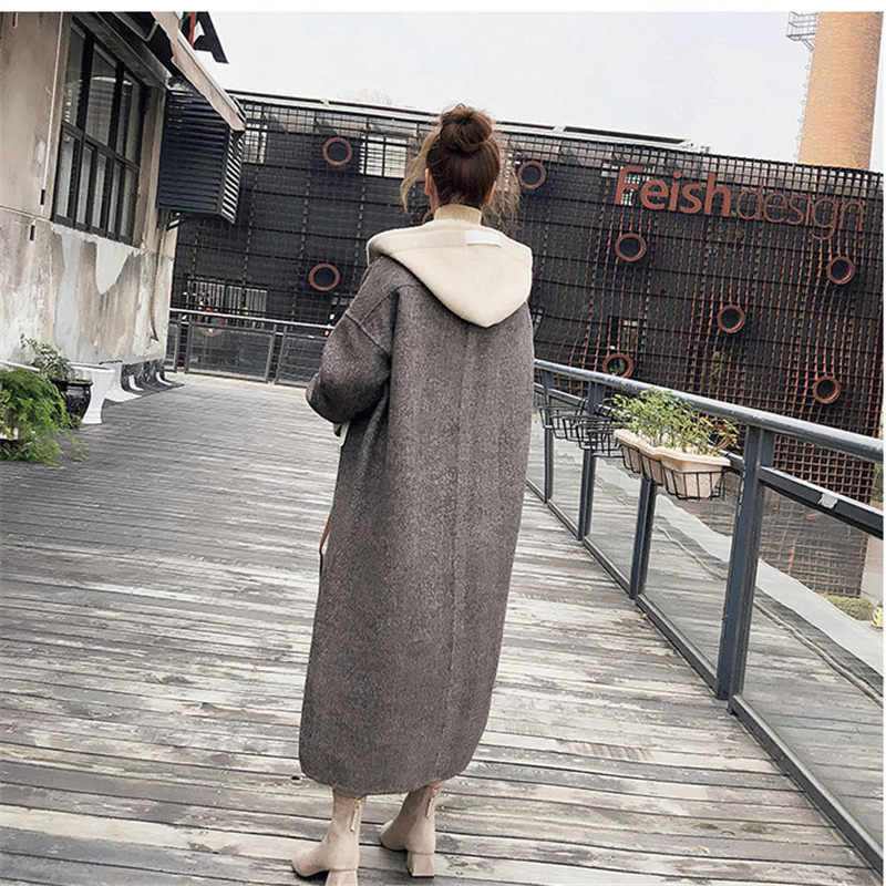 Abrigos Mujer Autumn And Winter 2019 Fashion Jacket Long Section Design Wool Coat With Hooded Solid Splice Casual Overcoat F1311