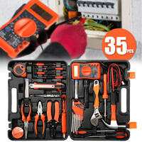 35Pcs electrician hand tool set kit household tool kit saw screwdriver hammer tape measure wrench Electric iron