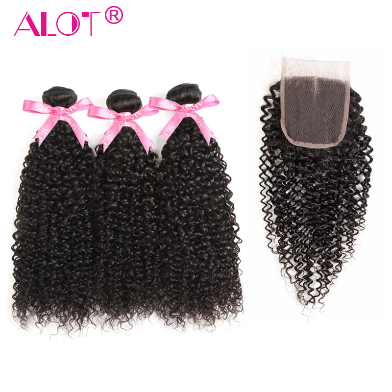 Alot Brazilian Kinky Curly Bundles With Closure 3 Bundles Human Hair Weaving With Closure Non Remy