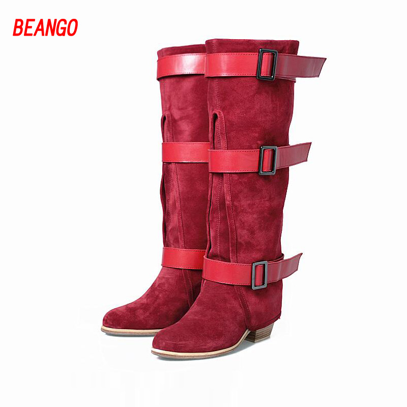 BEANGO Winter Luxurious Boots Pointed Toe  Slip On High Square Heel Warm Boats Knee High Women Handmade Genuine Leather Boots