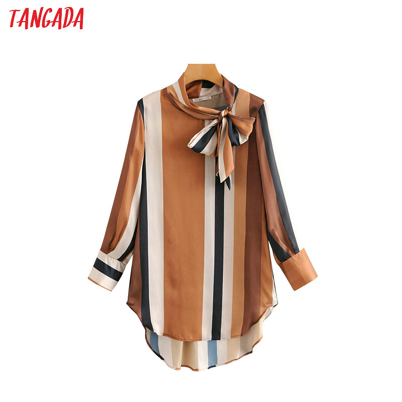 Tangada Women Striped Blouse Geometric Print Bow Tie Neck Long Sleeve Shirts Casual Loose Tops Blusas Mujer HY21