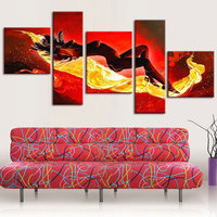 Handmade 5panel Huge Realistic Painting Beautiful Hot Naked Girl Body Women Nude sexy Group oil Painting On Canvas Wall Art