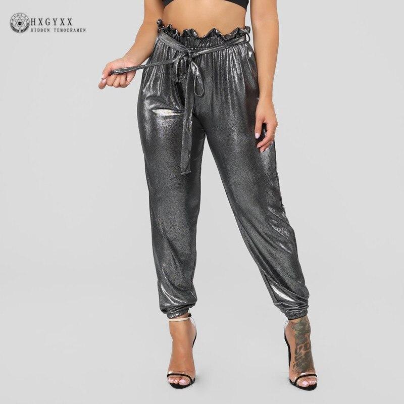 Hip Hop Joggers Women Plastic Elastic Ruffles High Waist harem   Pants     Capris   Streetwear Silver harajuku Sweatpants Summer B162