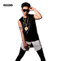 Customize Men Patent Leather Hem Splice Tank Vest Male Fashion Hip Hop Casual Sleeveless Tees Shirts