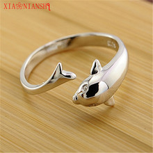 XIAONIANSHI New Charm Brand Hot Selling Dolphin Opening Adjustable Silver Plated Rings Fine Jewelry Valentine's Gift For Girl