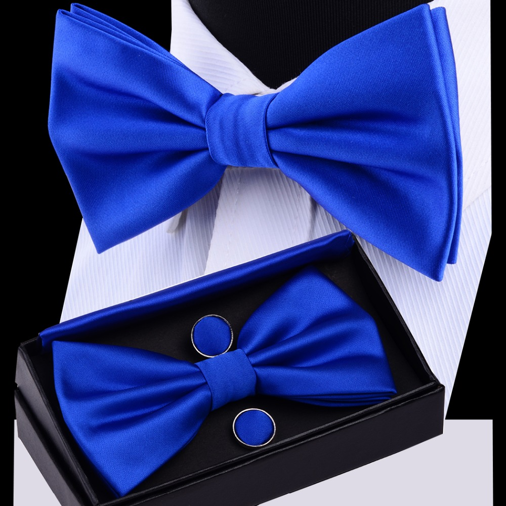RBOCOTT Mens Bow Tie Set Solid Double Fold Bow Ties Waterproof Plain Blue Bowtie Hanky Cufflinks Gift Box For Men Wedding Gift