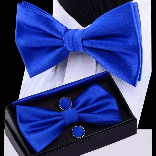aba0e079fe8b RBOCOTT Mens Bow Tie Set Solid Double Fold Bow Ties Waterproof Plain Blue Bowtie  Hanky Cufflinks Gift Box For Men Wedding Gift