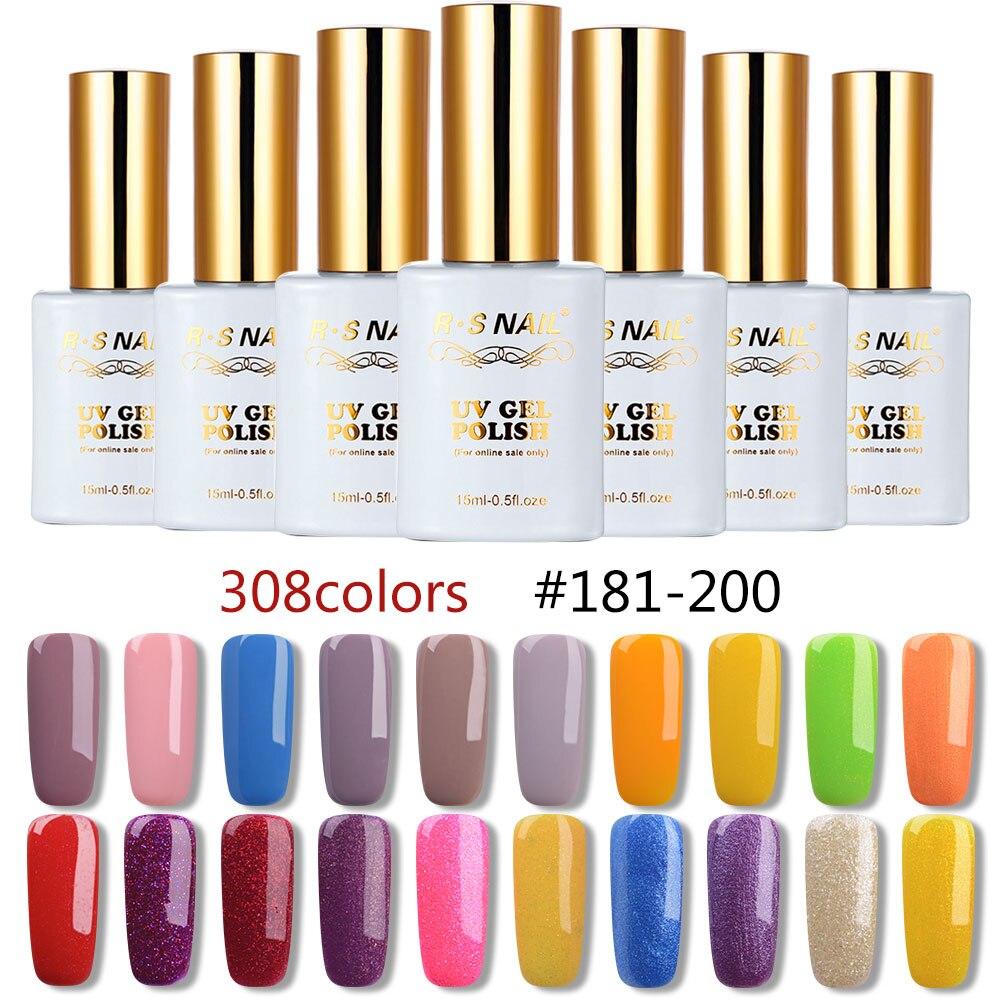 RS 15ml nail gel polish 308 colors gel varnish #181-200 uv led  gel lacquer manicure a set of gel varnishes